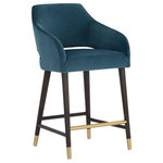 ARTEFAC - Arm Kitchen Counter stools, Teal - Sloping Arm Counter Stool Teal and Dark Grey
