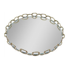 Linked Mirrored Tray, Brass, Large