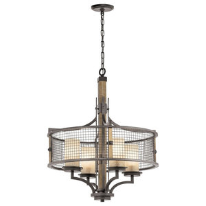 4-Light Chandelier, Anvil Iron