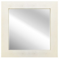 Gold on White Metallic Shagreen Leather Framed Beveled Mirror