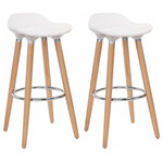 Brawbuy - Set of 2 Barstools Modern Counter Height Bistro Pub Side Chairs Wooden Legs - Our White Bar Stool Set Are Designed To Meet The Friendly Relationship Between Human And Machine, Which Will Relax You When You Have Drink With Your Friends. The Stool Surface Is Made From ABS That Is Easy For You To Clean. This Bar Stool Also Features A Circular Metal Footrest To Firmly Position Your Legs. At The Same Time The Item Can Be Easily Assembled With Basic Tools. You Deserve It!