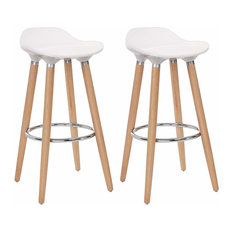 Set Of 2 Barstools Modern Counter Height Bistro Pub Side Chairs Wooden Legs