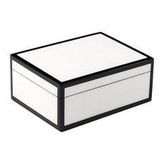 Lacquer Medium Box, White and Black