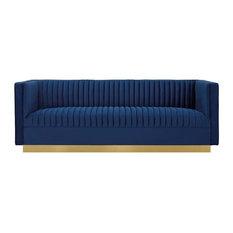 Sanguine Vertical Channel Tufted Performance Velvet Sofa, Navy