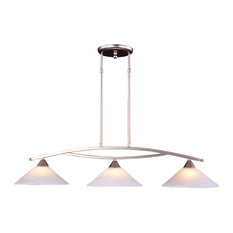 Elk Lighting Elysburg 3-Light Island, Satin Nickel And White Glass