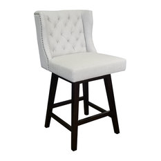 Wingback Swivel Counter Stool With Brushed Silver Nailhead Fabric Light Gray