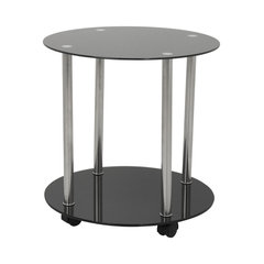 Black Gl Chrome Two Tier Round Wheeled Side Table