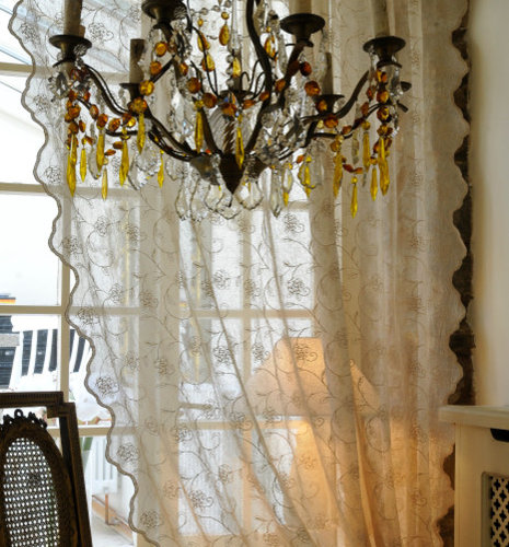 Embroidered Lace Curtain Panels From Scandinavia   Curtains