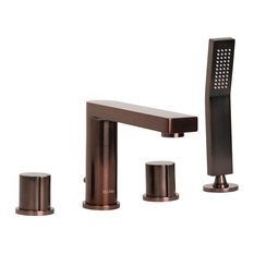 Friedrich Deck-Mount Roman Bathtub Faucet Filler and Hand Shower, Brushed Bronze
