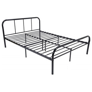 Traditional Double Bed Frame, Black Finished Metal With Headboard and Footboard