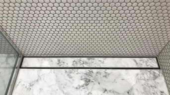 Carrara Marble Floor with Penny Mosiacs