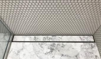 Carrara Marble Floor with Penny Mosiacs