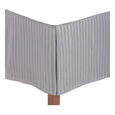 "Striped Soft & Wrinkle Free Microfiber Bed Skirt, 15"" Drop, Silver, Twin XL"