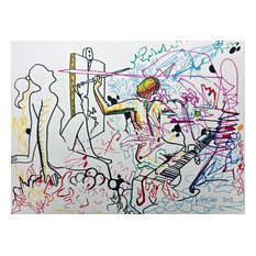 Out of Line, Original Colored Ink Drawing, Mark Kostabi