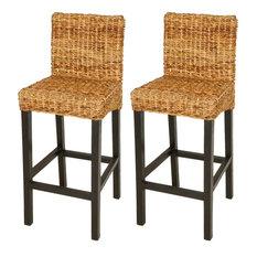 vidaXL Solid Mango Wood 2x Bar Stool Dark Brown Rattan Abaca Kitchen Chair