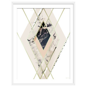 """One Step Ahead"" Abstract Art Print, White Framed, 50x70 cm"