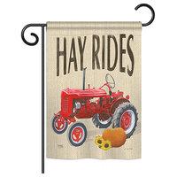 "Hay Rides Fall, Seasonal Garden Flag 13""x18.5"""