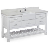"Charlotte Bathroom Vanity, White, 60"", Quartz Top, Single Sink"