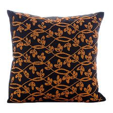 "Orange Leaves Garden Brown Art Silk 16""x16"" Throw Pillow Covers, Maple Leaf"