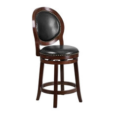 """26"""" High Cappuccino Counter H Wood Barstool With Black Leather Swivel Seat"""