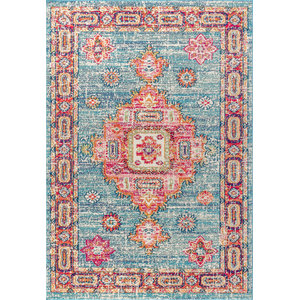 Bohemian Flair Vintage Medallion Rug, Blue and Red, 4'x6'