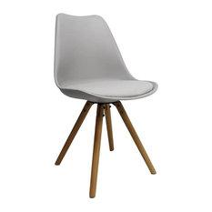Brandy Plastic Dining Chair, Light Grey