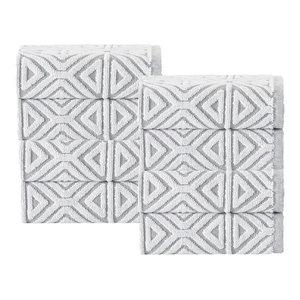 Glamour 8-Piece Turkish Cotton Wash Cloth Set, Silver