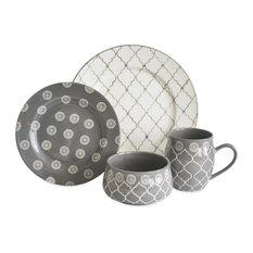 Moroccan 16-Piece Dinnerware Set, Gray