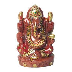 Mogul Interior - Hindu Ganesh Lord of New Beginnings Natural Gold Stone - Decorative Objects and Figurines