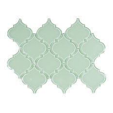 "Surf Arabesque Glass Tile, 9.45""x13.3"" Sheet"