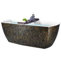 "69"" Freestanding Modern Acrylic Black and Gold Soaking Tub"