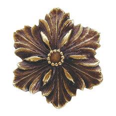 Opulent Flower Knob Antique Brass, Antique Brass