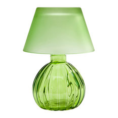 Studio Silversmith   Evelyn Glass Votive Lamp With Shade, Green   Table  Lamps