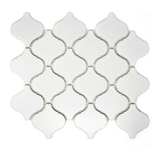 "11""x9.5"" Kenzie Porcelain Mosaic Tile Sheet, White"