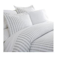 Ienjoy Home Becky Cameron 3 Piece Puffed Rugged Stripes Duvet Cover Set Light Gray