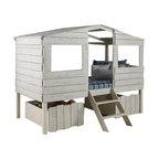 rustic oak tree house twin bunk, loft bed, w/desk - transitional