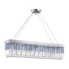 Rectangular Chandelier Trimmed With Blue Crystal