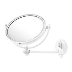 "8"" Wall-Mount Extending Twist Makeup Mirror 4X Magnification, Matte White"