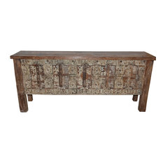 Mogul Interior - Consigned Antique Doors Whitewashed Hand-Carved Console Table - Console Tables