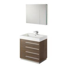 """Fresca Livello 30"""" Gray Oak Vanity w/ Medicine Cabinet"""