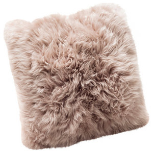 Large New Zealand Sheepskin Cushion, Light Brown