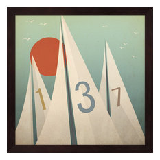 Sails Vii With Sun By Ryan Fowler, Framed Wall Art, 13.25""