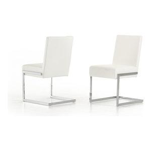 Modrest Batavia Modern White Leatherette Dining Chairs, Set of 2