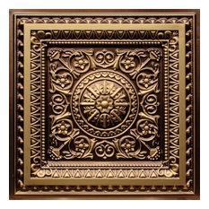 """24""""x24"""" D223 PVC Faux Tin Glue-up Ceiling Tiles, Set of 6, Antique Gold"""