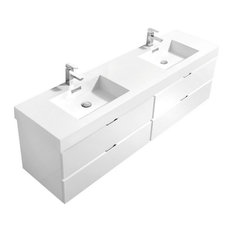 Bliss 72-inch Double Sink High Gloss White Wall Mount Modern Bathroom Vanity