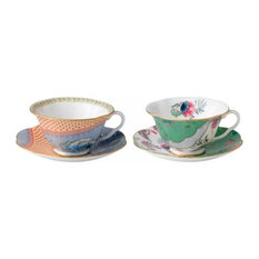 Wedgwood Teacup and Saucer, Set of 2, Blue Peony, Butterfly Posy