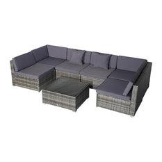 Outsunny 7pc Outdoor Rattan Wicker Patio Sofa Set, Grey