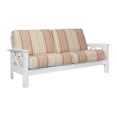 Handy Living   Riverwood X Design Sofa With Exposed Wood Frame, Pink Stripe    Sofas