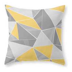 """Pattern, Gray, Yellow Throw Pillow Cover, 18""""x18"""" With Pillow Insert"""