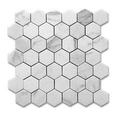 "Bianco Carrara Honed Hexagon Tile, 12""x12"""